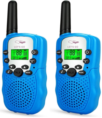 This is an image of girl's talkie walkies with long range radio in blue color