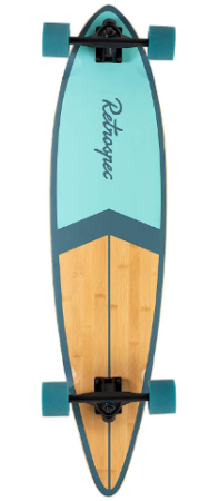 This is an image of kid's longboard skate cruiser in blue color