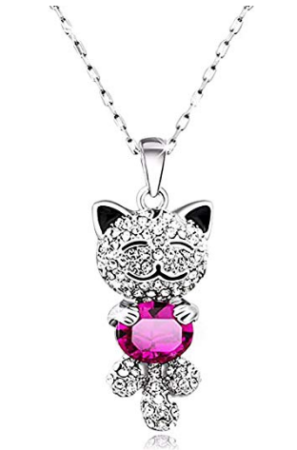 This is an image of girl's lucky cat crystal necklace in silver and pink colors