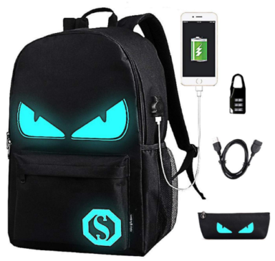 This is an image of boy's backpack with charging ports in black and blue colors