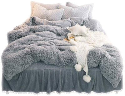 This is an image of girl's luxury plush cover set in gray color