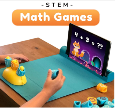 This is an image of boy's math game with stories and puzzles for kids