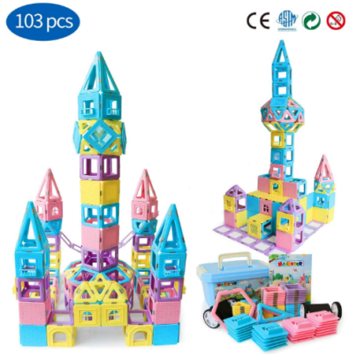 This is an image of girl's Magnetic building blocks STEM in colorful colors