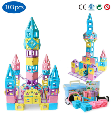This is an image of girl's Educational Magnetic building blocks in colorful colors