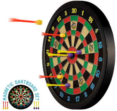 This is an image of boy's manetic dart board in black color