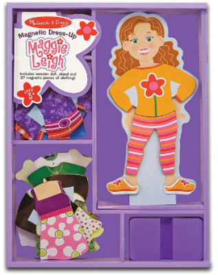 This is an image of girl's magnetic wooden dress up in purple color