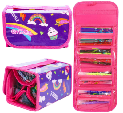 This is an image of girl's markes and pencils with case in purple and pink colors