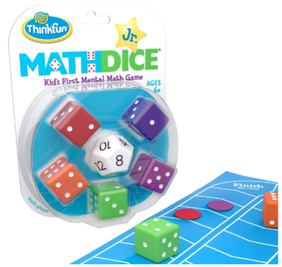 This is an image of girl's math dice junior game in colorful colors