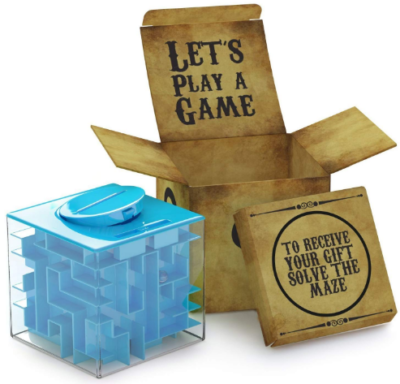 This is an image of boy's maze puzzle box in blue color
