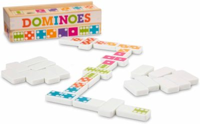 This is an image of a dominoes tabletop game set for kids by Melissa and Doug.