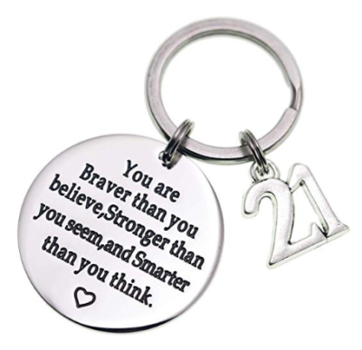 This is an image of a stainless steel keychain for 21 year old ladies by Melix Home.