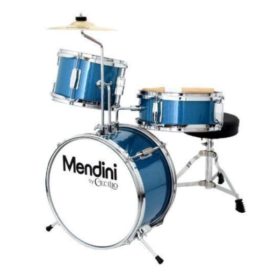 This is an image of a blue drum set for kids by Mendini by Cecilio.