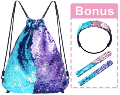 This is an image of girl's mermaid back pack with bracelet and headband set in blue and purple colors