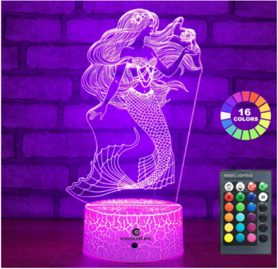 This is an image of girl's mermaid night light with 16 different colors and remote control