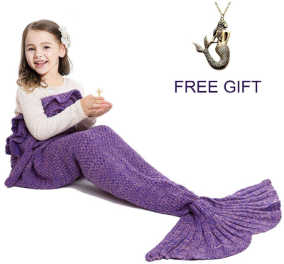 This is an image of girl's Mermaid tail blanket with a gift in purple color