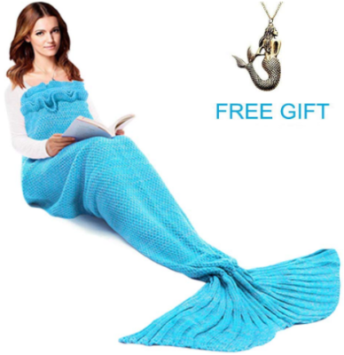 This is an image of girl's mermaid tail blanket with neckless gift in blue color