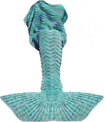 This is an image of girl's mermaid tail blanket in blue color