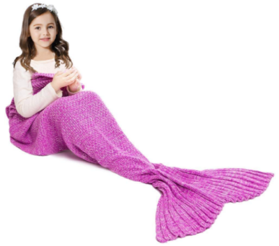 This is an image of girl's mermaid tail blanket in pink color