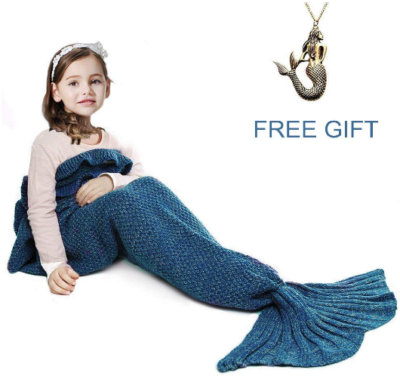 This is an image of girl's mermaid tail blanket with a neckless in blue color