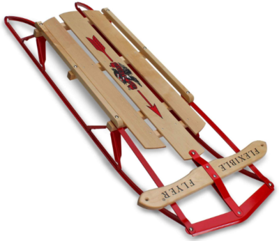 This is an image of kid's wooden and metal runner snow sled