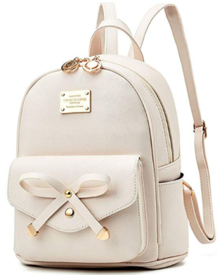 This is an image of girl's mini backpack purse in light pink color