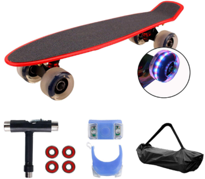 This is an image of kid's mini cruiser skateboard with repair kit and light up wheels in red and black colors