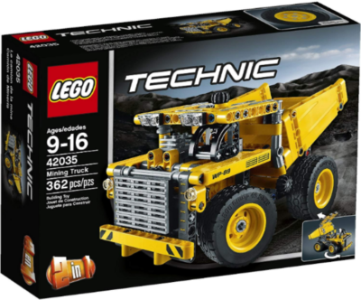 This is an image of LEGO Technic Mining truck in yellow color