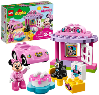 This is an image of girl's minnies party building blocks in pink and other colors
