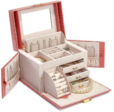 This is an image of girl's mirrored jewelry box
