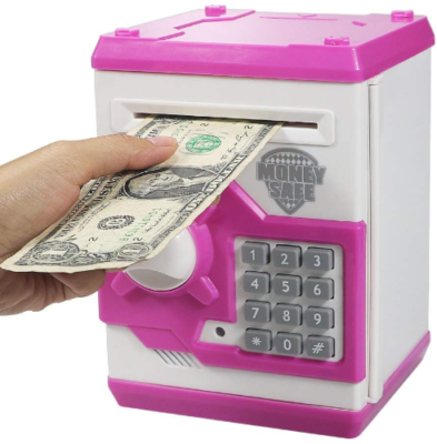 This is an image of girl's Electronic piggy bank in pink color