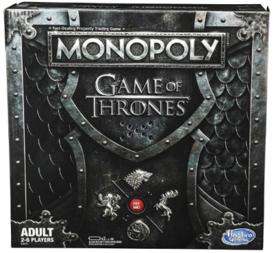 This is an image of boy's Monopoly game of thrones board ame