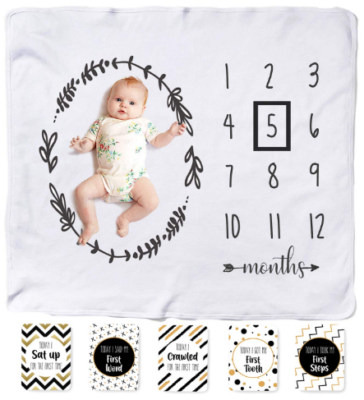 This is an image of mom's monthly milestone blanket for babies in white color