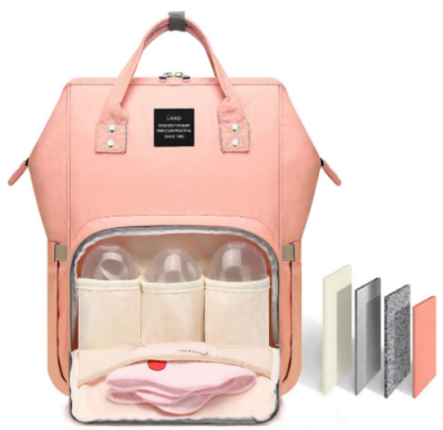 This is an image of mom's multi function diaper bag in pink color