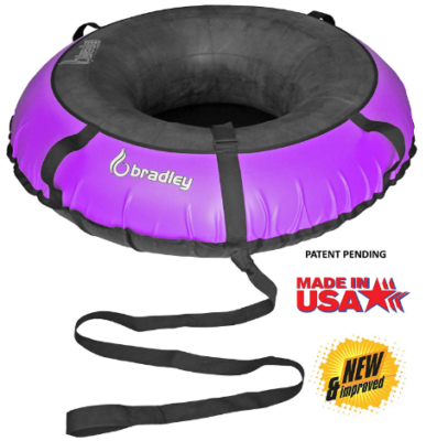 This is an image of kid's multi rider snow tube in black and purple colors