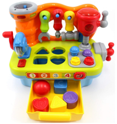 This is an image of toddler boy's learning workbench toy in colorful colors