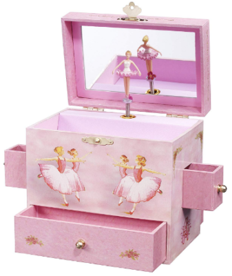 This is an image of girl's musical jewlery box in pink color