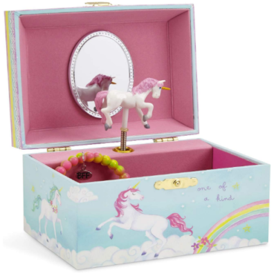 This is an image of girl's musical jewelry box with music in colorful colors