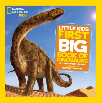 This is an image of boy's national geographic dinosaur book