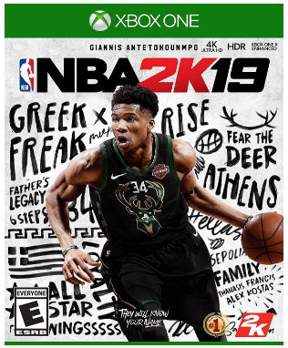 This is an image of boy's NBA 2019 basketball game for XBOX one
