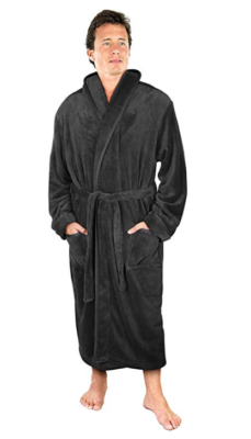 This is an image of a guy wearing the grey fleece robe by NY Threads.