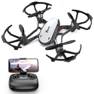 This is an image of kid's quadcopter drone in white and black colors