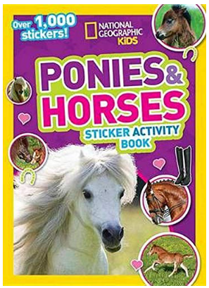 This is an image of girl'book of ponnies and horses by national geographic