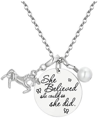 This is an image of girl's inspirational necklace gift in silver color