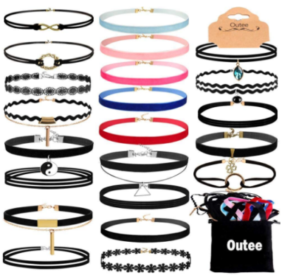This is an image of girl's necklaces choker pack with 30 pieces in colorful colors
