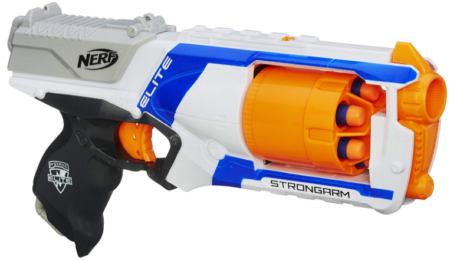 This is an image of boy's Nerf stike blaster gun in colorful colors