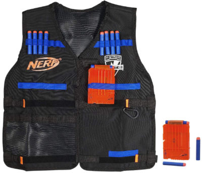 This is an image of boy's nerf tactival vest for nerf guns in black and blue colors