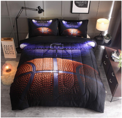 This is an image of boy's Night basketball bedding court
