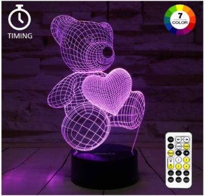 This is an image of girl's night light 3D lamp with bear in purple color