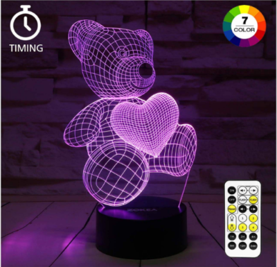 This is an image of girl's bear night light 3D lamp in purple color