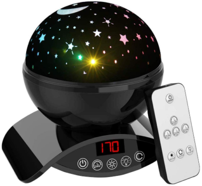 This is an image of boy's night light with remote control in black colors